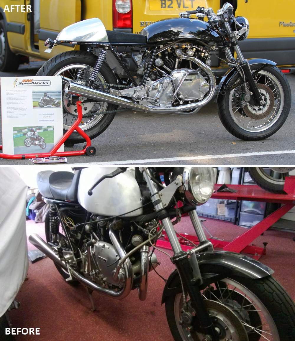 Before and after, Egli Vincent restoration to customers specification
