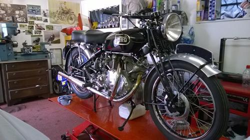 B.Cousin's Vincent Rapide, front end rebuilt and bike refreshed/tuned by us
