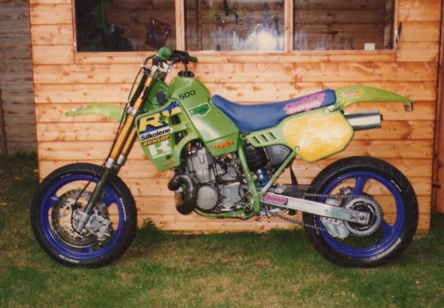 Road legal KX500 adapted for road/sprint by Ben a good 10 years before supermoto was fasionable.