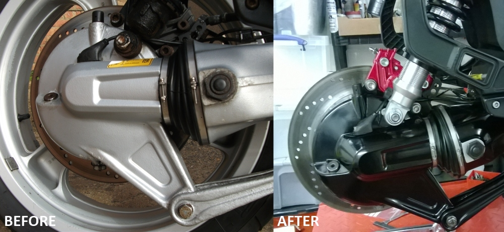 example of part of a restoration on a BMW K1100RS